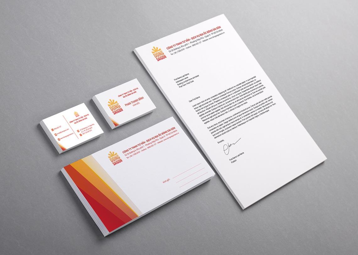 Blank basic stationery. Letterhead flat, business card, envelope